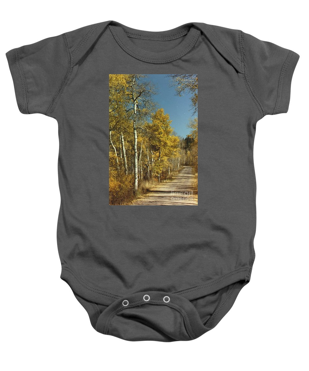 Aspens Baby Onesie featuring the photograph Fall Lane by Brandi Maher