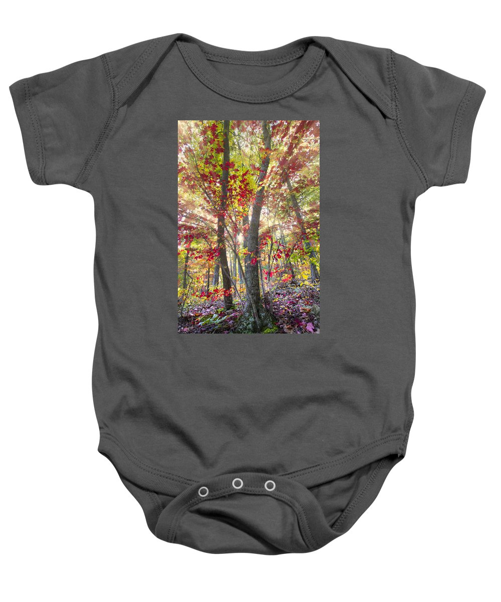 Appalachia Baby Onesie featuring the photograph Fall Laser Beams by Debra and Dave Vanderlaan