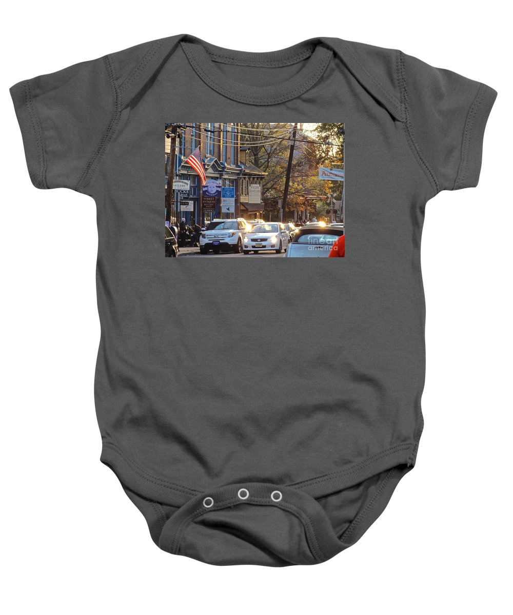 Bridge Baby Onesie featuring the photograph Fall On Bridge by Christopher Plummer