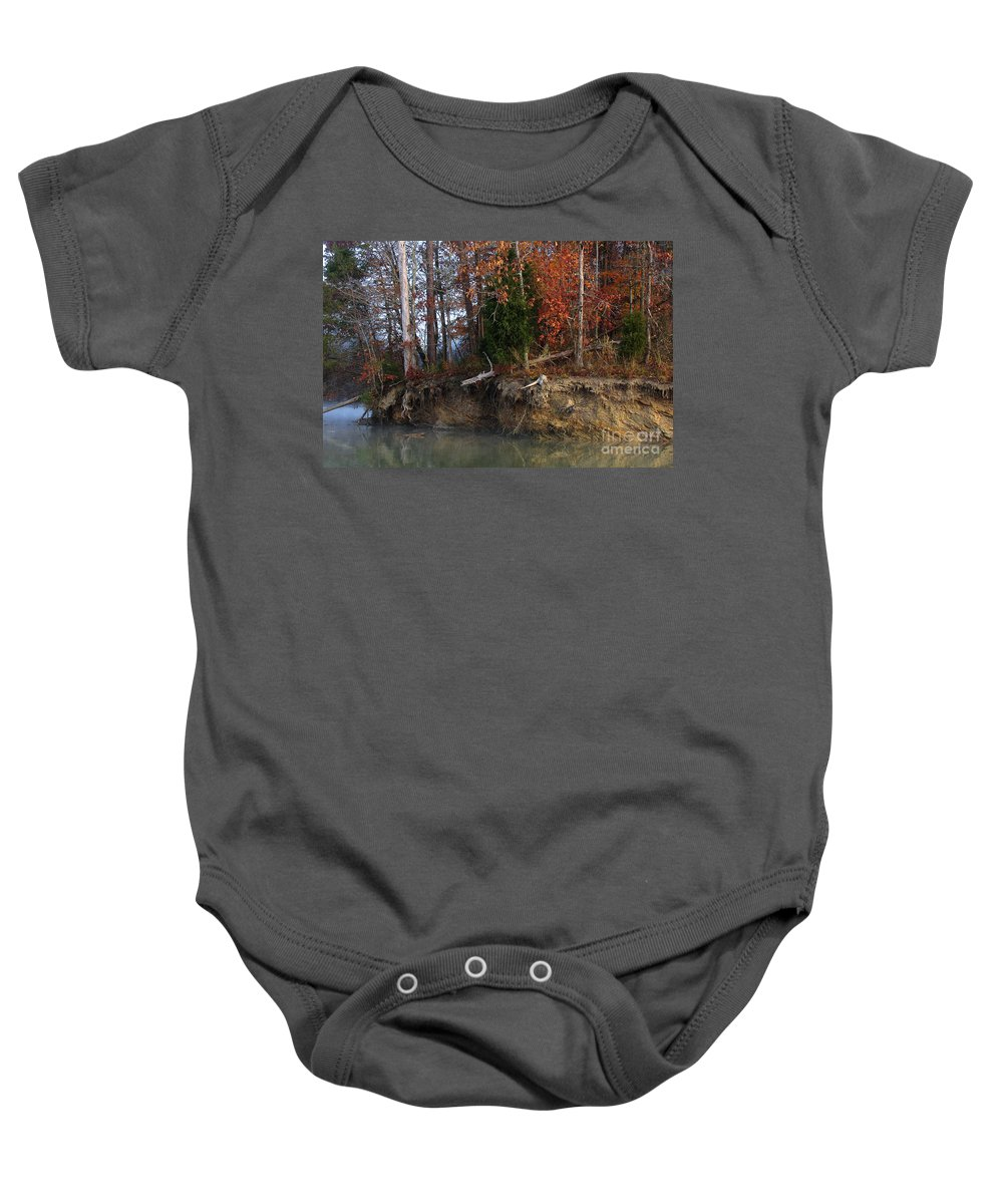Lake Baby Onesie featuring the photograph Fall On Melton Hill Lake IIi by Douglas Stucky
