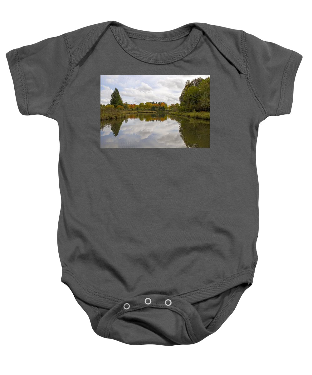 Pond Baby Onesie featuring the photograph Fall Season By The Pond by Jit Lim