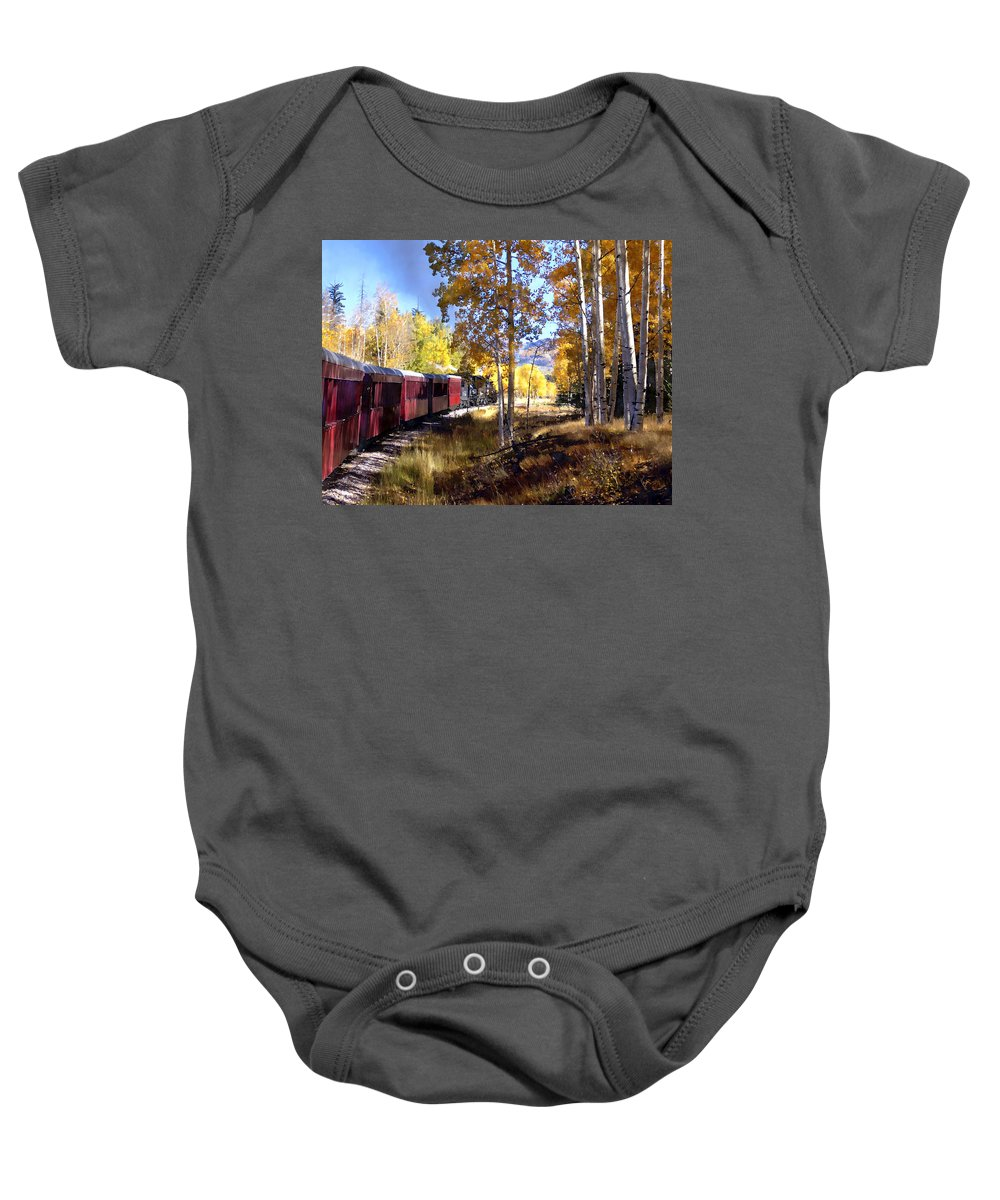 Chama Baby Onesie featuring the photograph Fall Train Ride New Mexico by Kurt Van Wagner