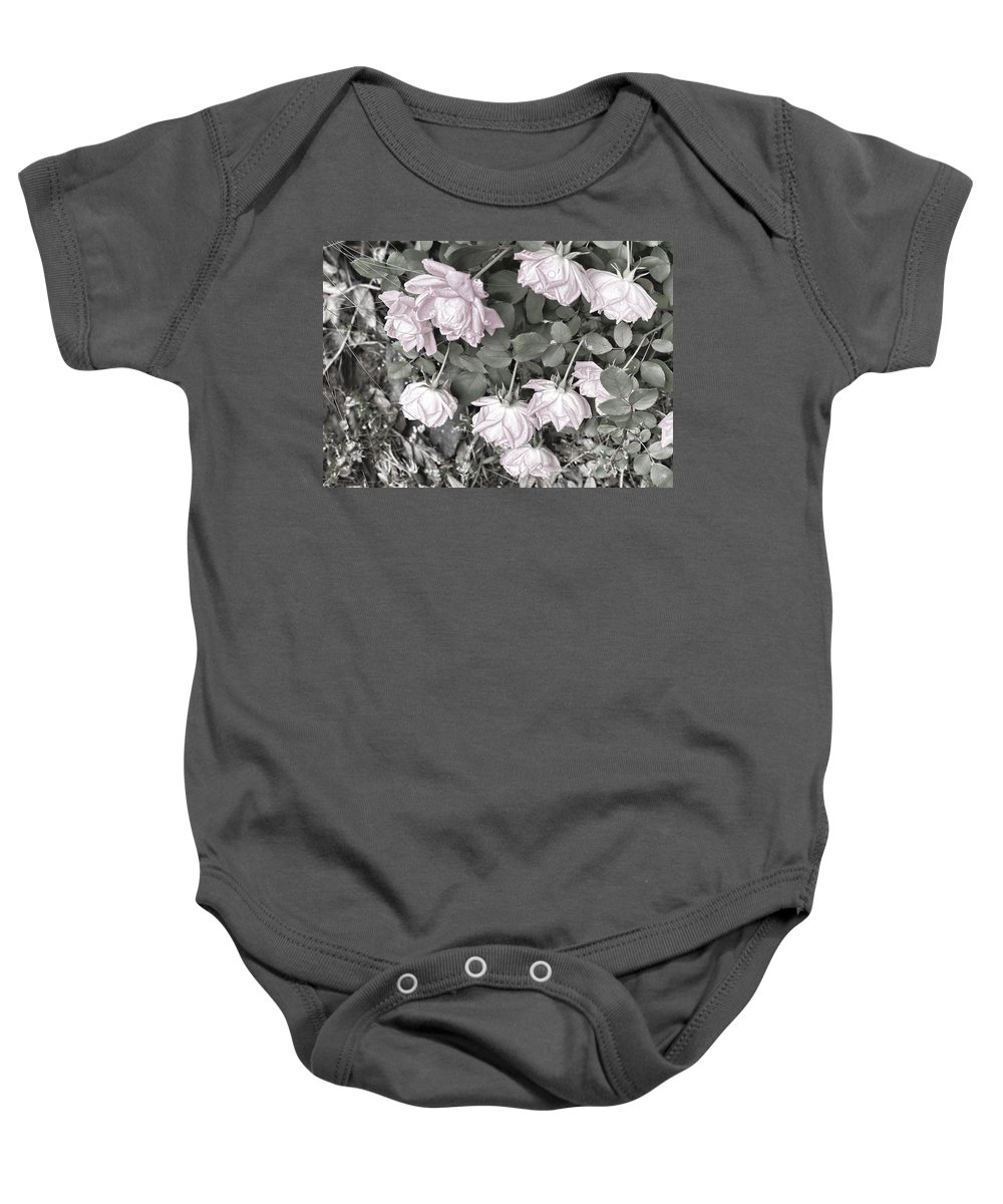 Roses Baby Onesie featuring the digital art Falling Roses by Bonnie Willis
