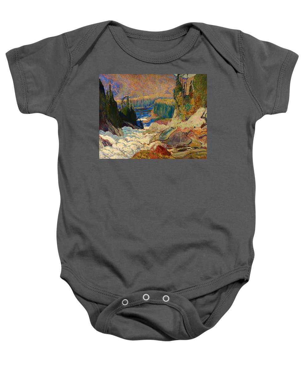 Painting Baby Onesie featuring the painting Falls - Montreal River by Mountain Dreams