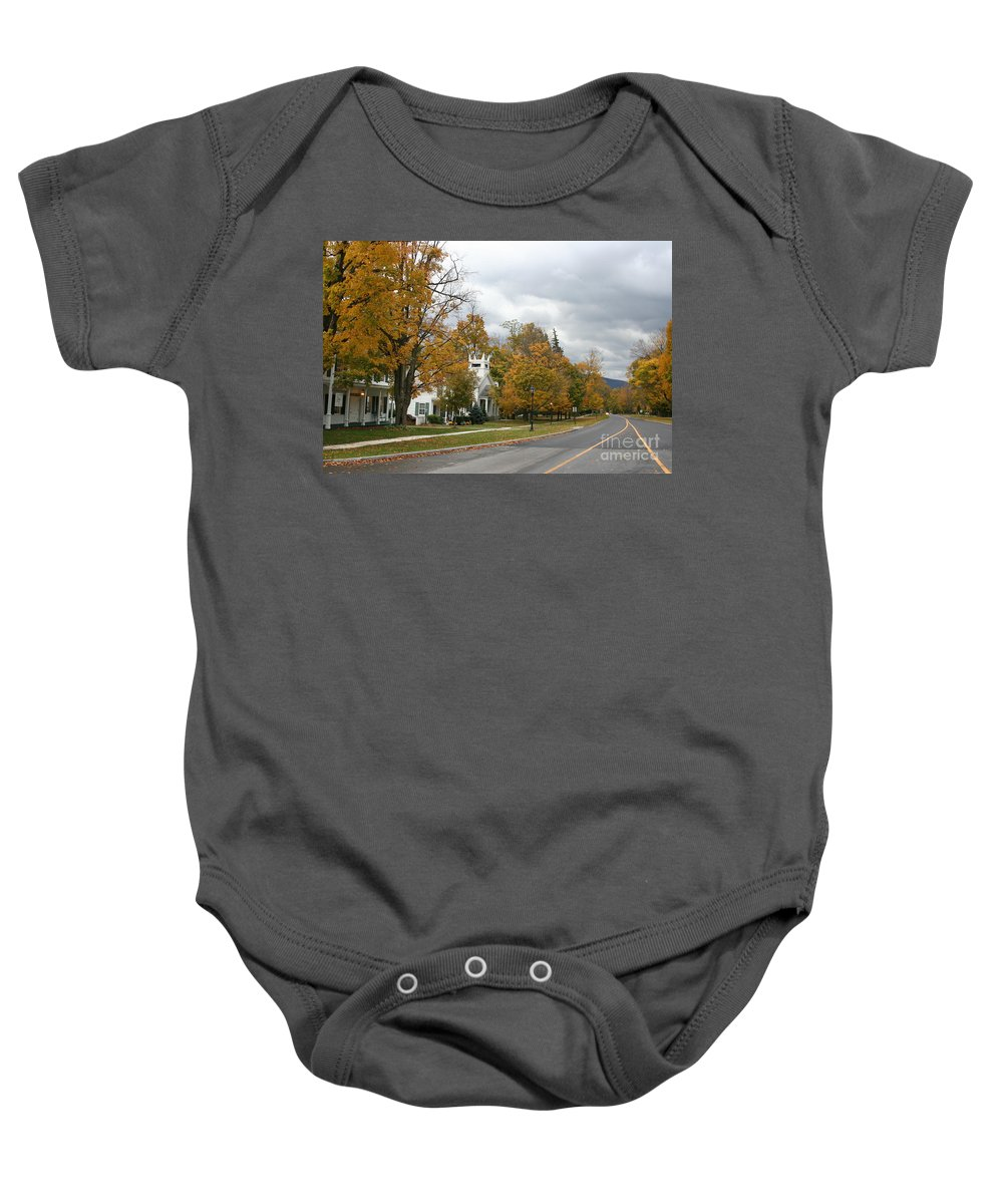 Indian Summer Baby Onesie featuring the photograph Autumn Trees At The Roadside by Christiane Schulze Art And Photography