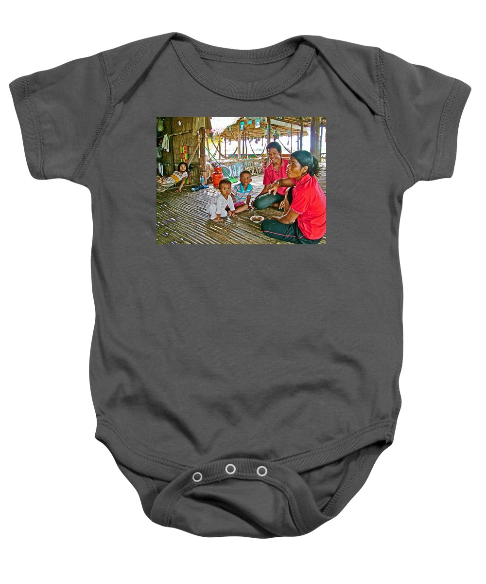 Family In Countryside Outside Of Siem Reap Baby Onesie featuring the photograph Family In Countryside Outside Of Siem Reap-cambodia by Ruth Hager