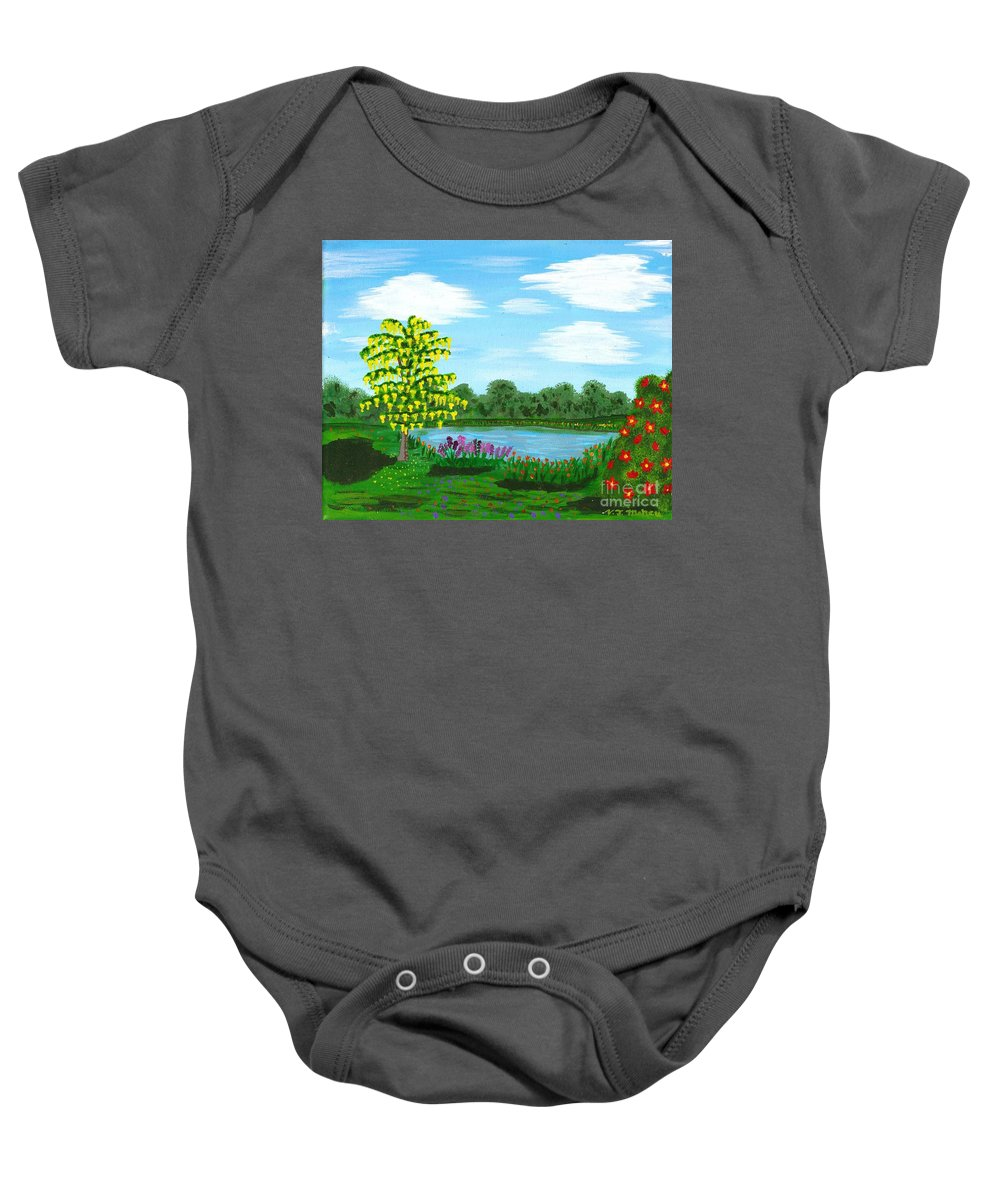 Pond Baby Onesie featuring the painting Fantasy Backyard by Vicki Maheu
