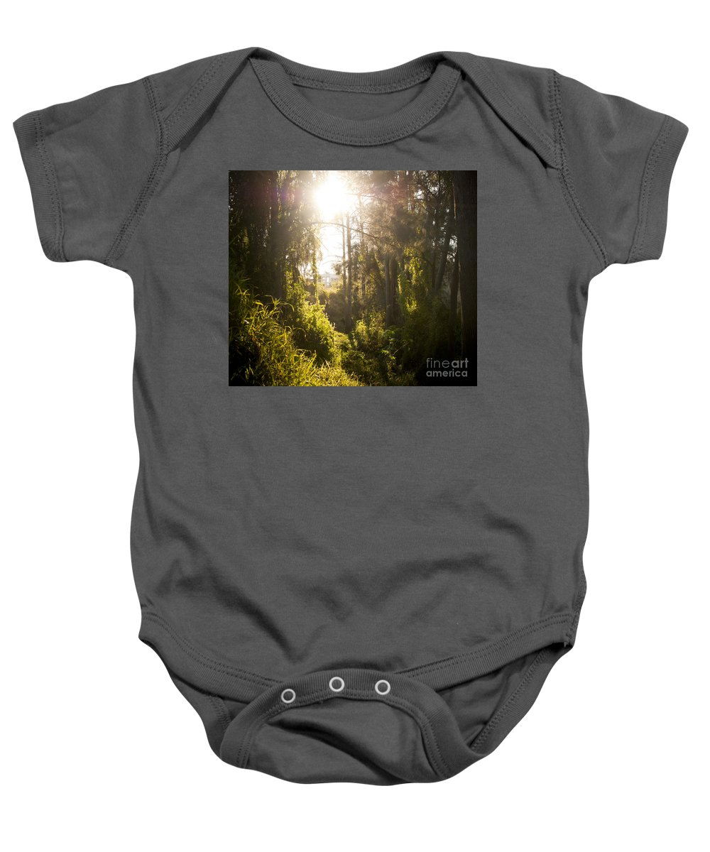 Autumn Baby Onesie featuring the photograph Fantasy Forest by Tim Hester