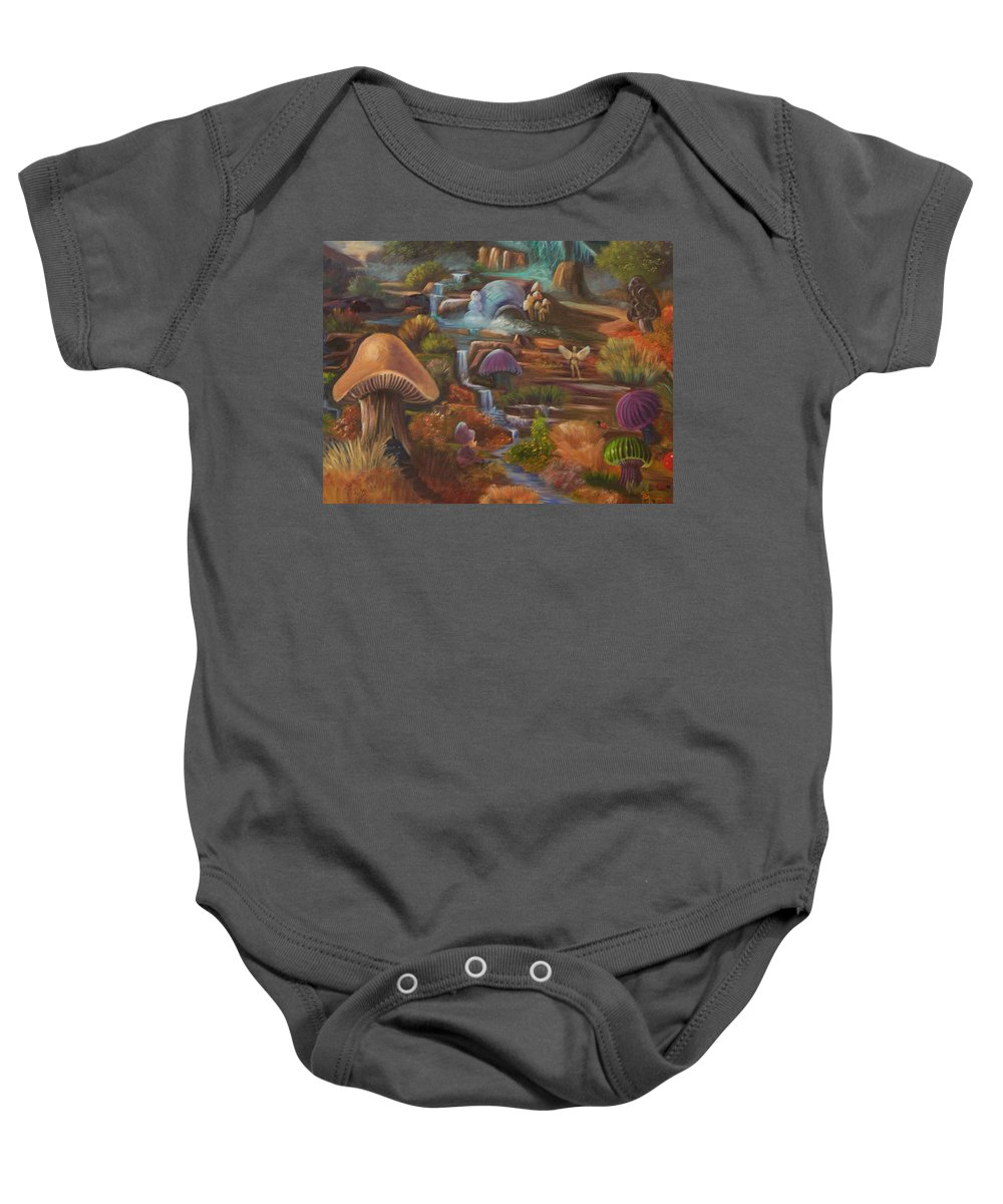 Mushrooms Baby Onesie featuring the painting Fantasy World by Sue Stake