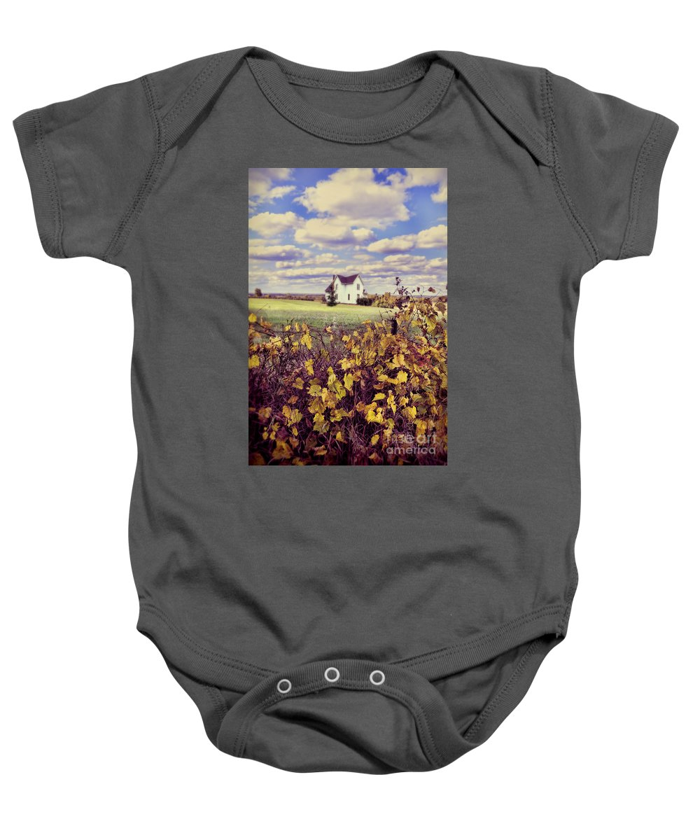 Grapevines Baby Onesie featuring the photograph Farmhouse And Grapevines by Jill Battaglia