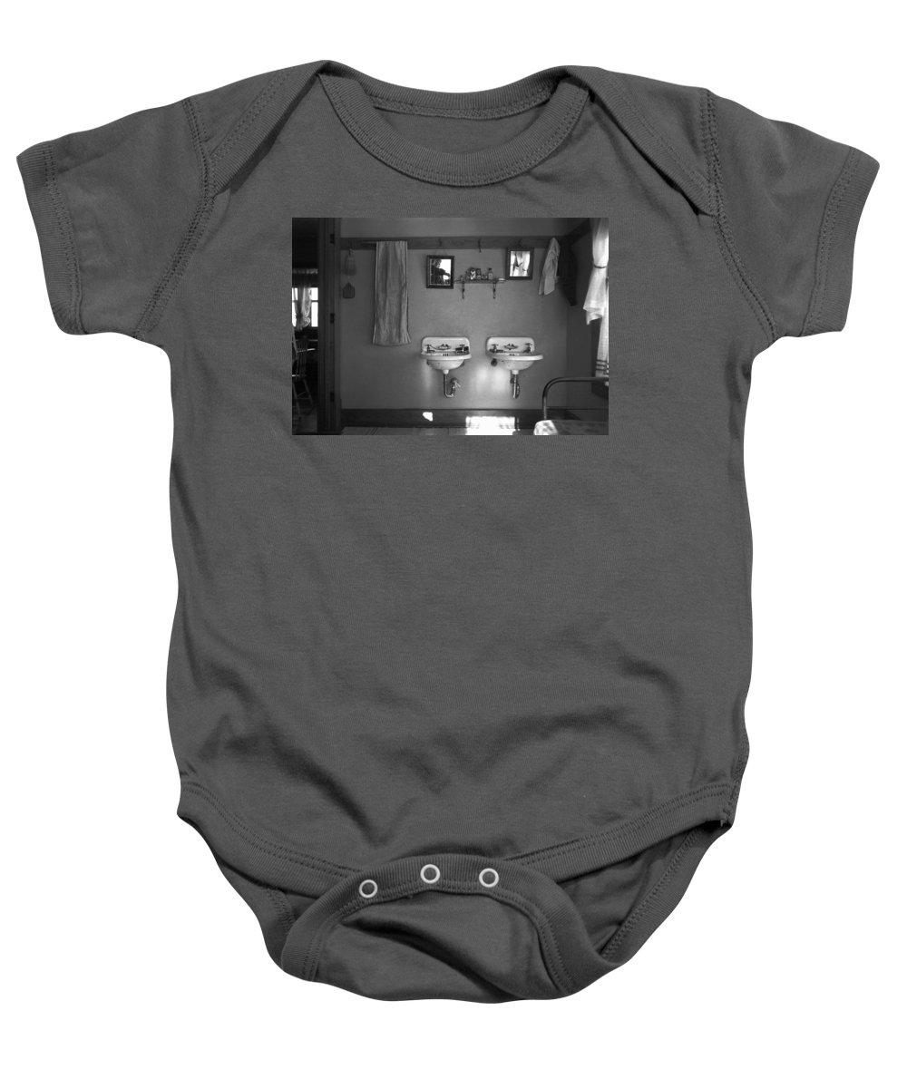 1936 Baby Onesie featuring the photograph Farmhouse Washroom, 1936 by Granger