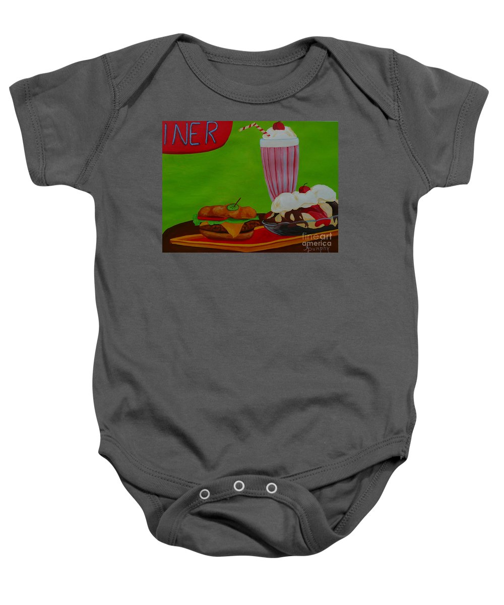 Food Baby Onesie featuring the painting Fast Food by Anthony Dunphy