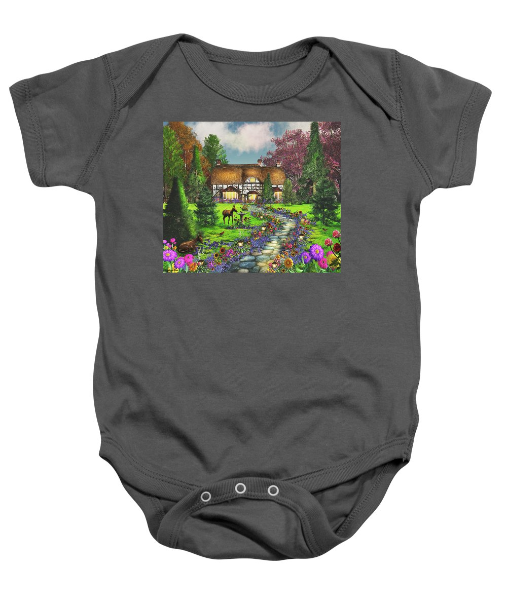 Art Licensing Baby Onesie featuring the mixed media Fawn Haven by Caplyn Dor