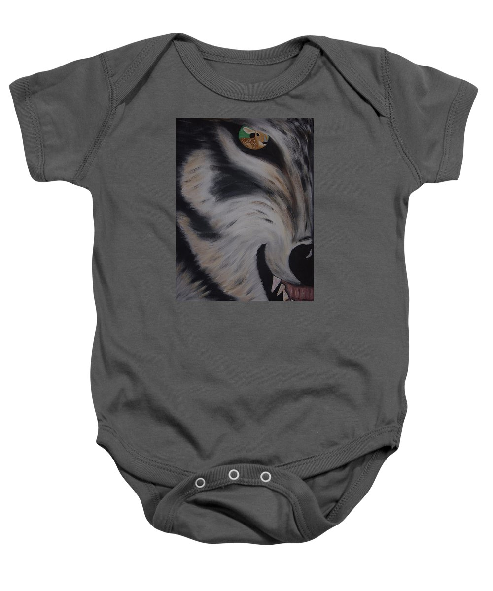 Red Wolf Baby Onesie featuring the painting Fawn In A Red Wolf's Eye by Dean Stephens