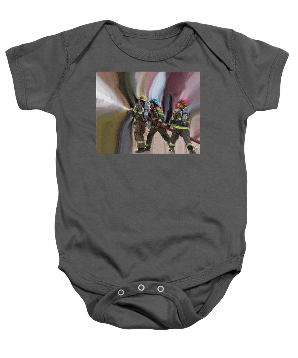 Firefighters Baby Onesie featuring the photograph Fearless by Ernie Echols