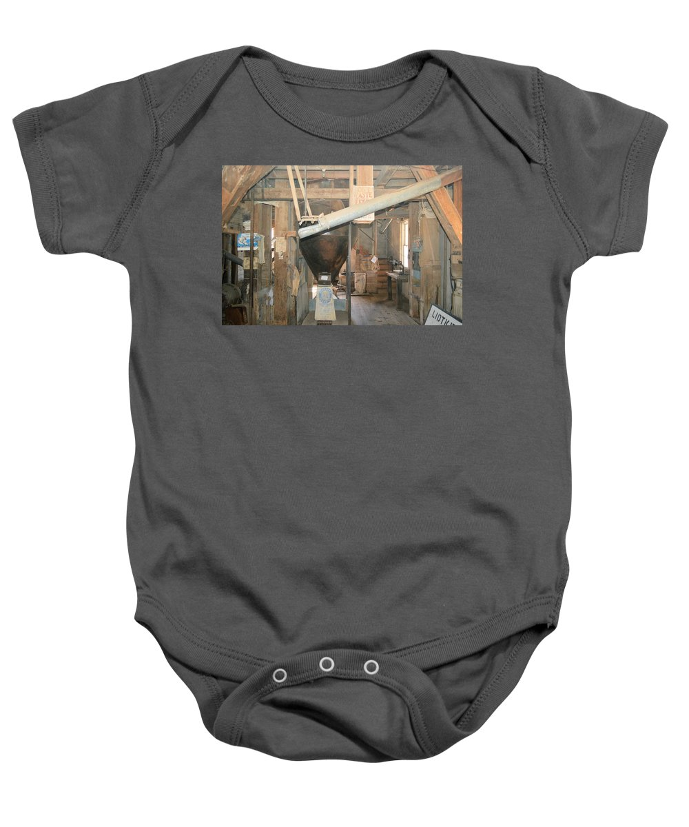 Lidtke Mill Baby Onesie featuring the photograph Feed Mill by Bonfire Photography