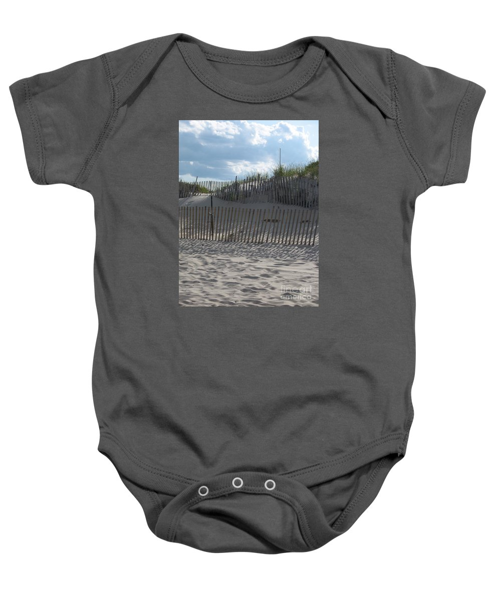 Fence Baby Onesie featuring the photograph Fenced Dune by Christiane Schulze Art And Photography