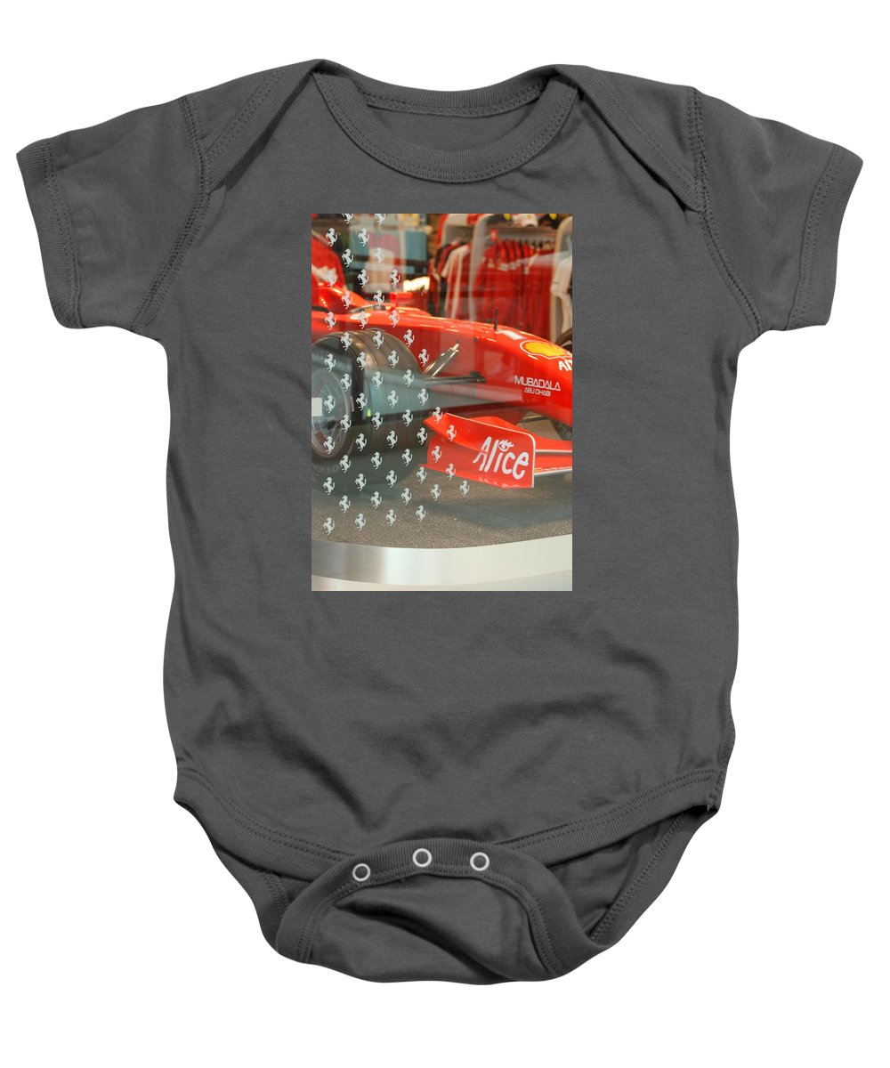 Stallions Baby Onesie featuring the photograph Ferrari Formula One by Rob Hans