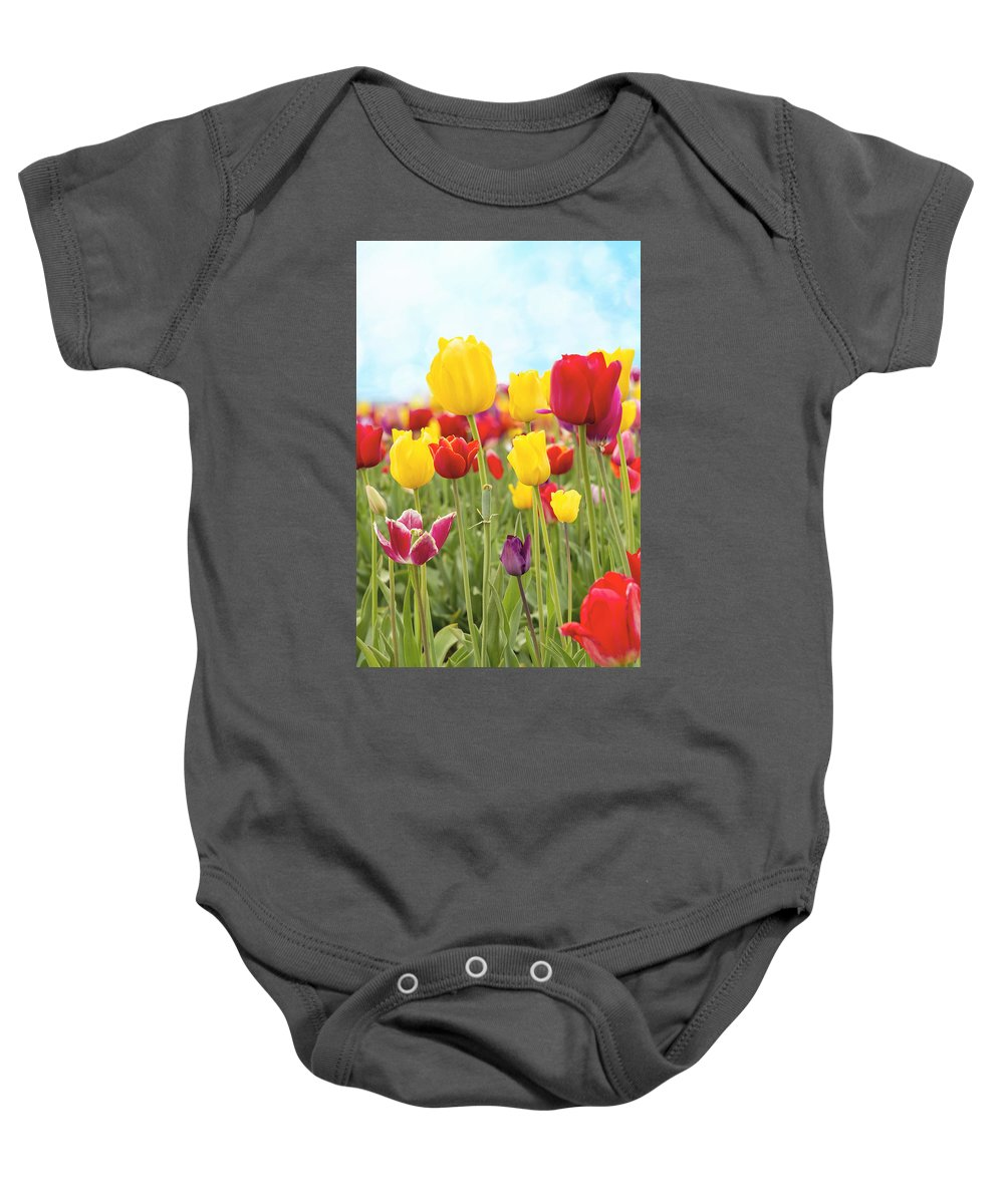 Tulips Baby Onesie featuring the photograph Field Of Tulip Flowers Against Blue Sky by Jit Lim