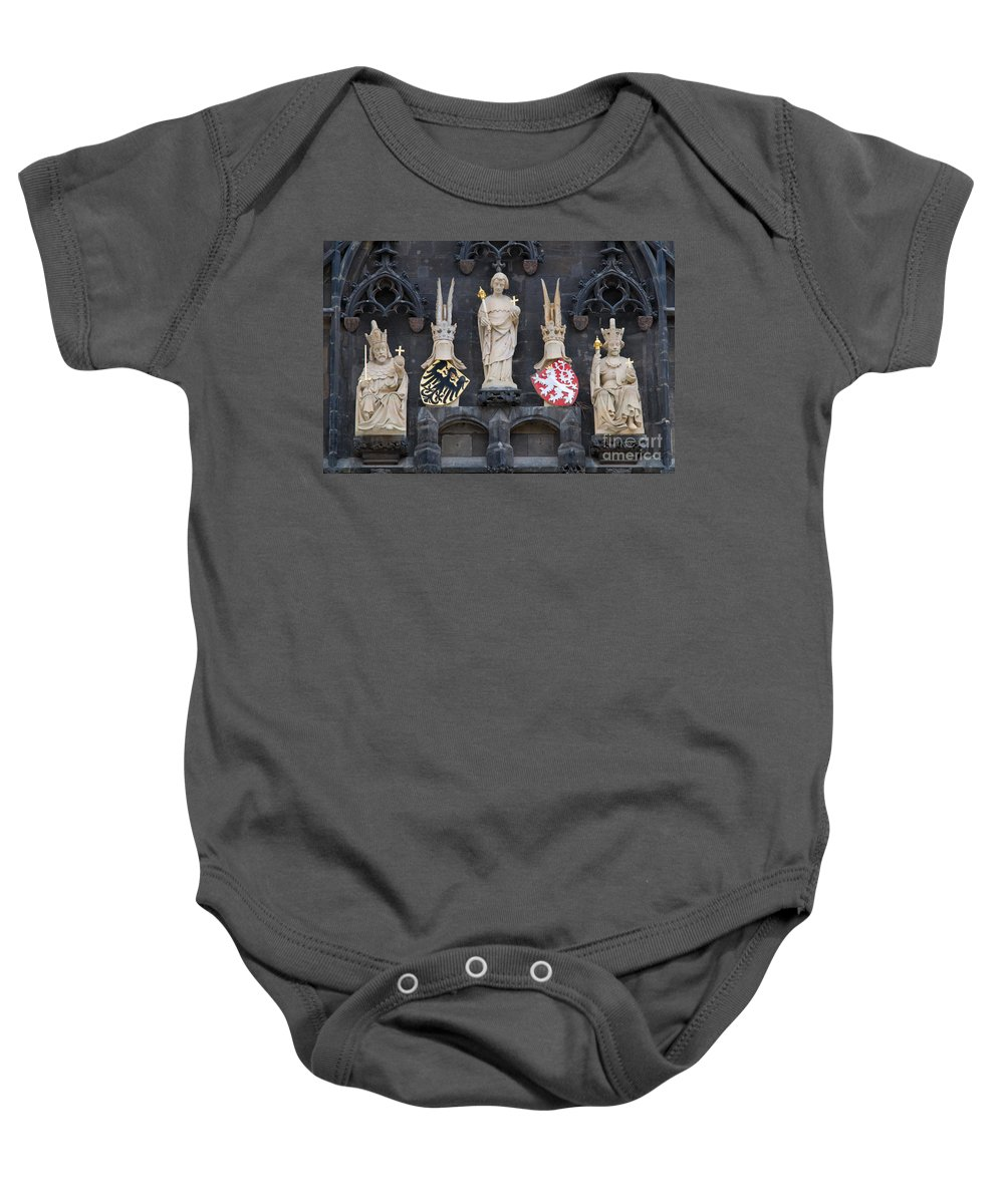 Architecture Baby Onesie featuring the photograph Figures On Staromestska Vez In Prague by Michal Bednarek