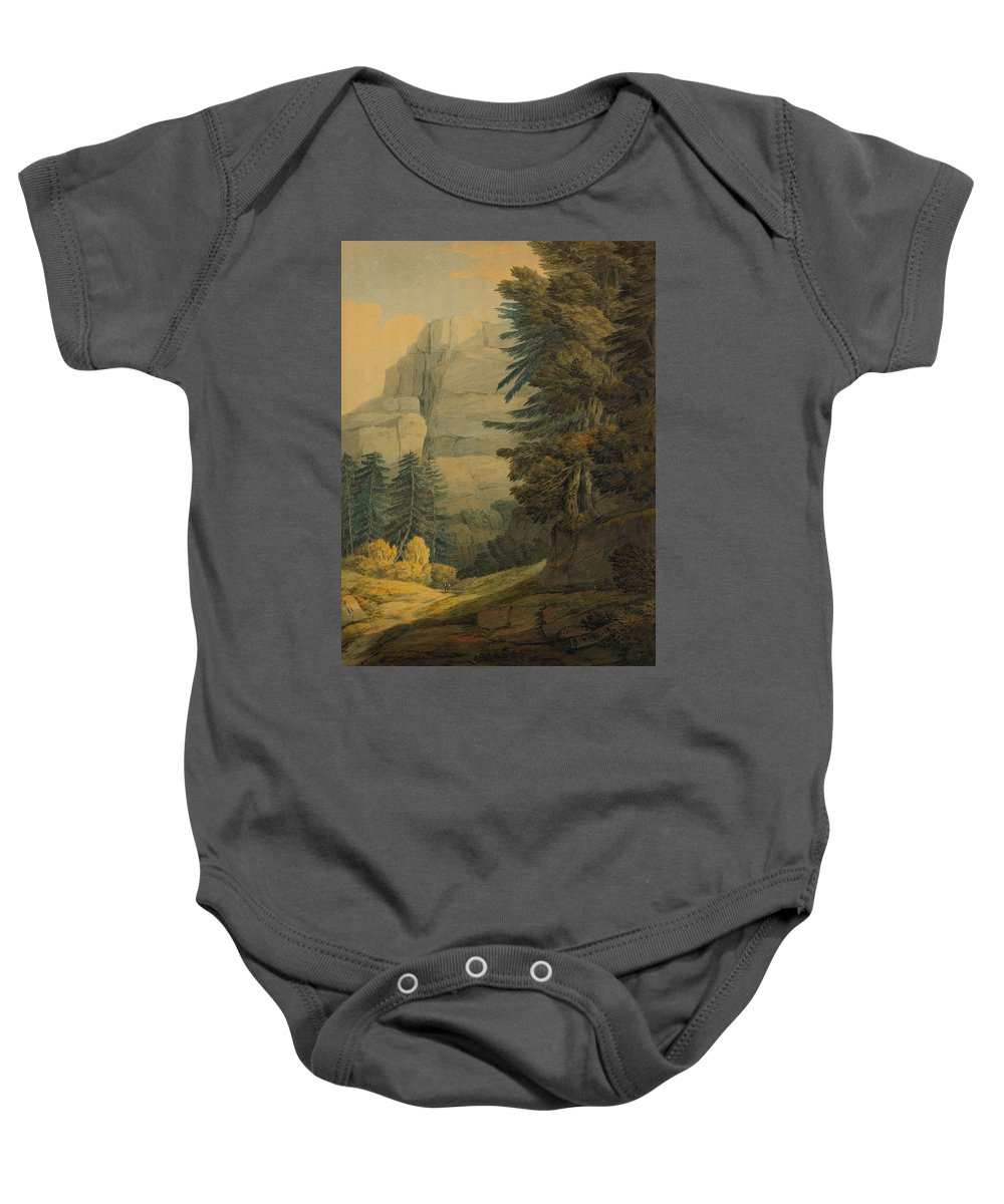 Francis Towne Baby Onesie featuring the painting Figures Walking Near Glarus Switzerland by Celestial Images
