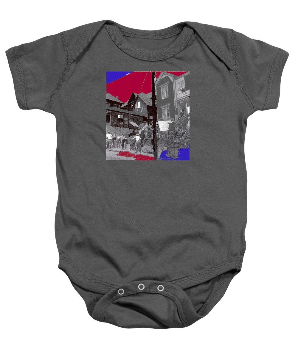 Film Noir Burt Lancaster Criss Cross 1948 Bunker Hill Los Angeles Color Added 2012 Baby Onesie featuring the photograph Film Noir Burt Lancaster Criss Cross 1948 Bunker Hill Los Angeles Color Added 2012 by David Lee Guss