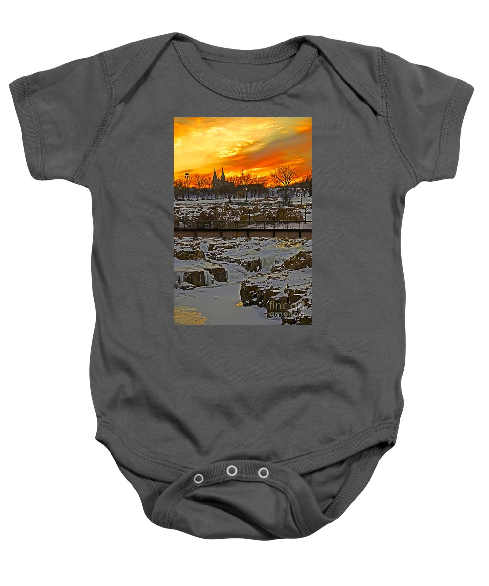 Sunset Baby Onesie featuring the photograph Fire And Ice by Elizabeth Winter