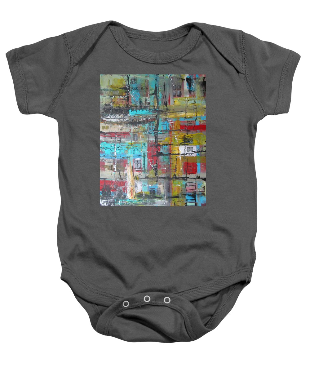 Abstract Baby Onesie featuring the painting Fire Escape by Rhodes Rumsey