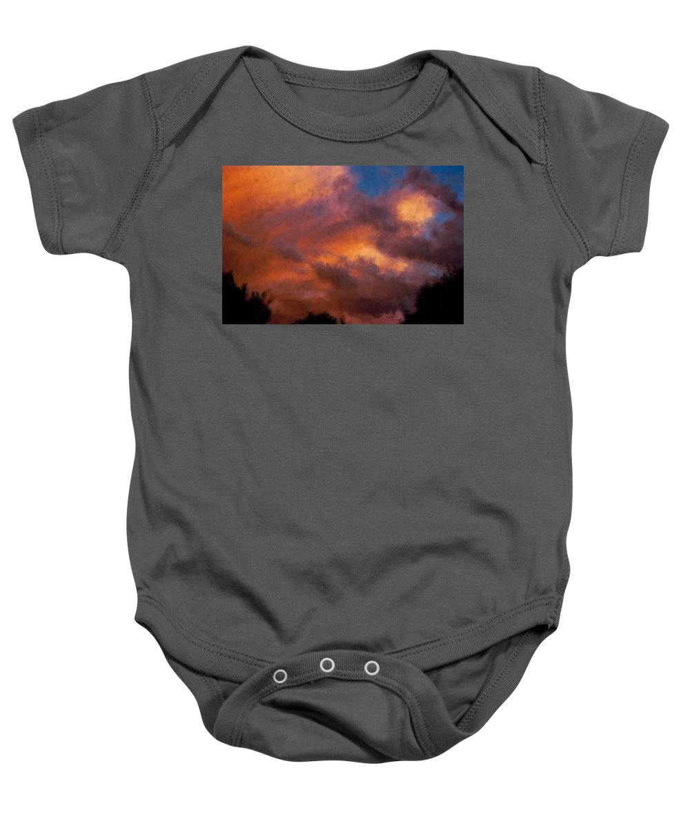 Sunrise Baby Onesie featuring the painting Fire In The Clouds by Bruce Nutting