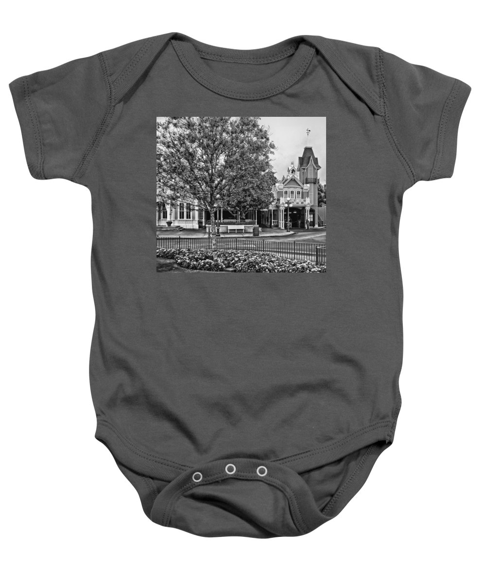 Black And White Baby Onesie featuring the photograph Fire Station Main Street In Black And White Walt Disney World by Thomas Woolworth