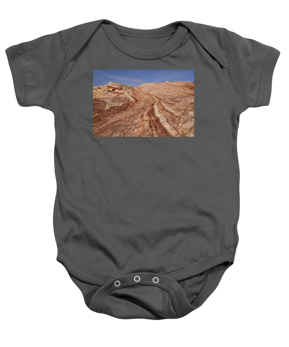 Fire Wave Baby Onesie featuring the photograph Fire Wave - Valley Of Fire by Debby Richards