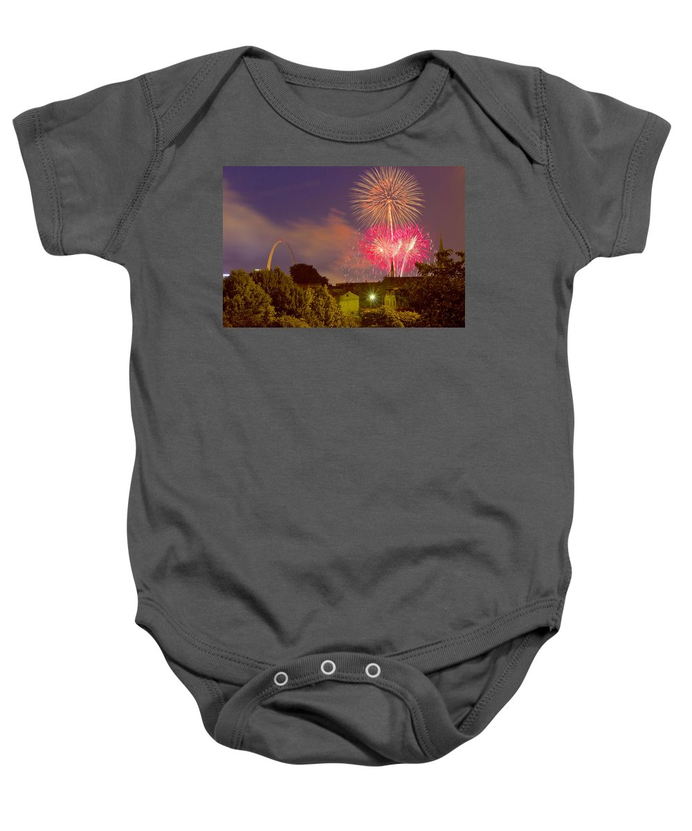 St Louis Arch Baby Onesie featuring the photograph Fireworks Over St Louis by Garry McMichael