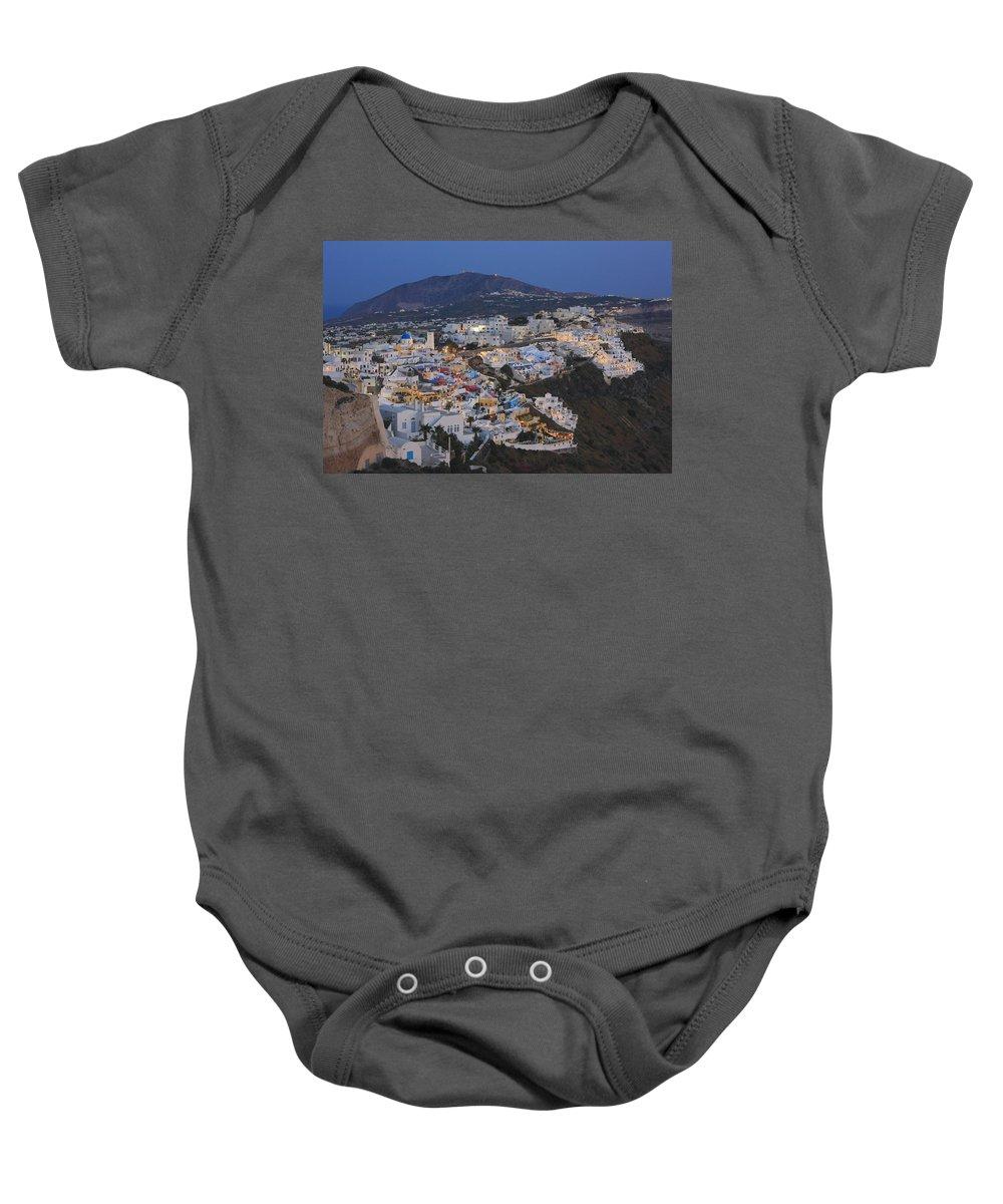 Aegean Baby Onesie featuring the photograph Firostefani At Night Santorini Cyclades Greece by Ivan Pendjakov