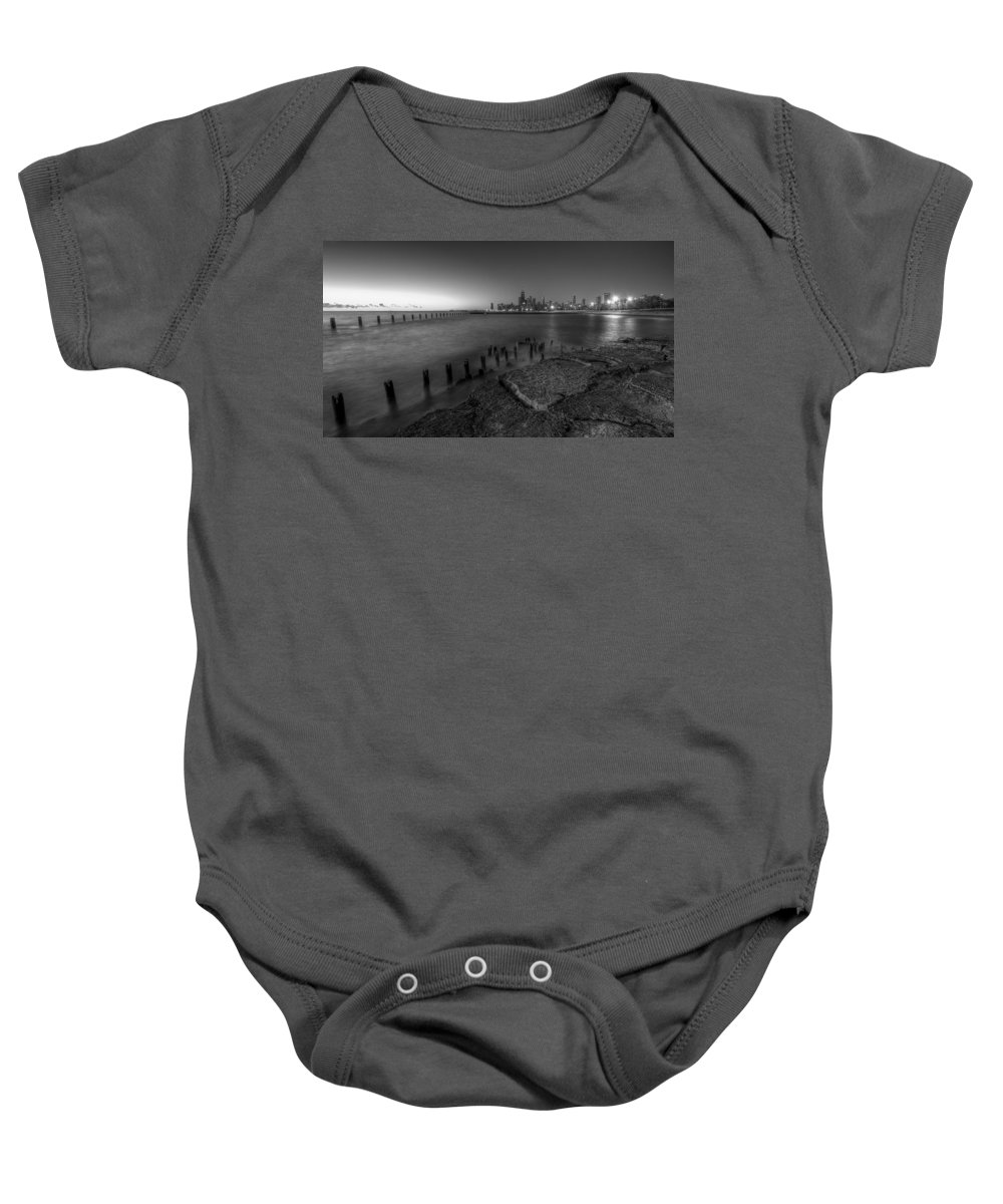 Chicago Baby Onesie featuring the photograph First Hint Of Sunlight In Black And White by Lindley Johnson