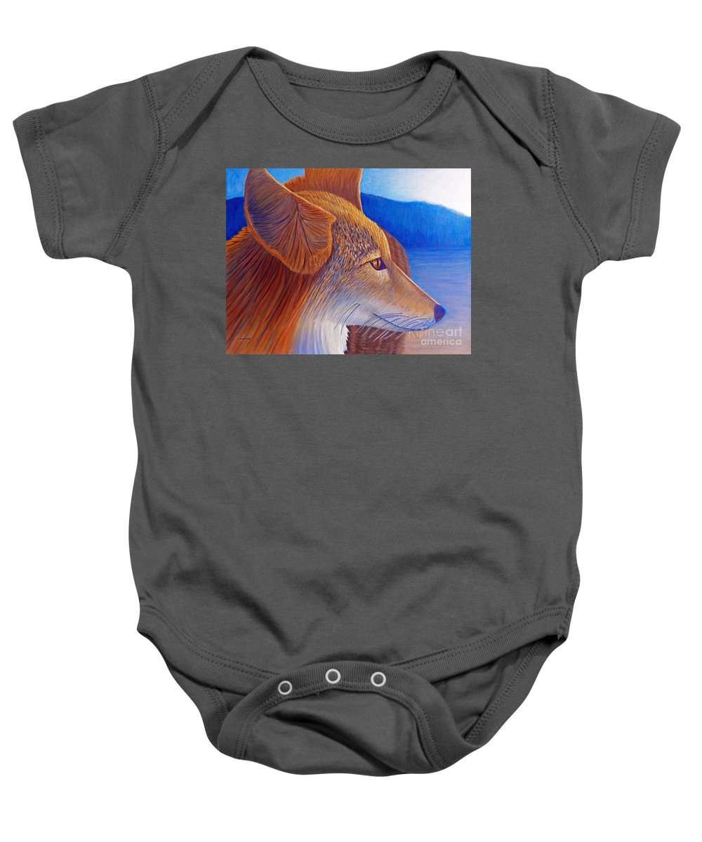 Coyote Baby Onesie featuring the painting First Light by Brian Commerford