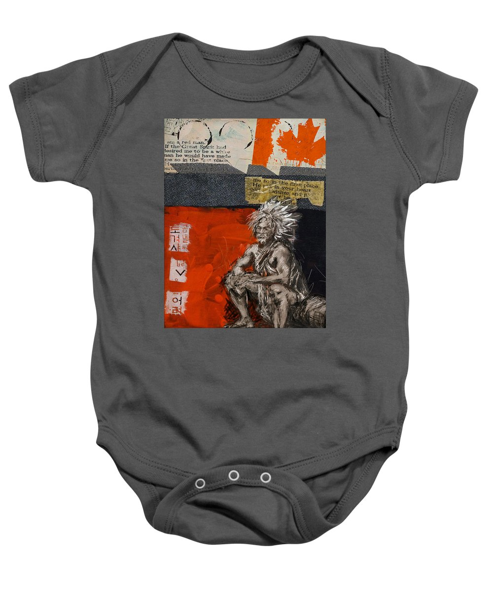 Aboriginals Baby Onesie featuring the painting First Nations 36 by Corporate Art Task Force