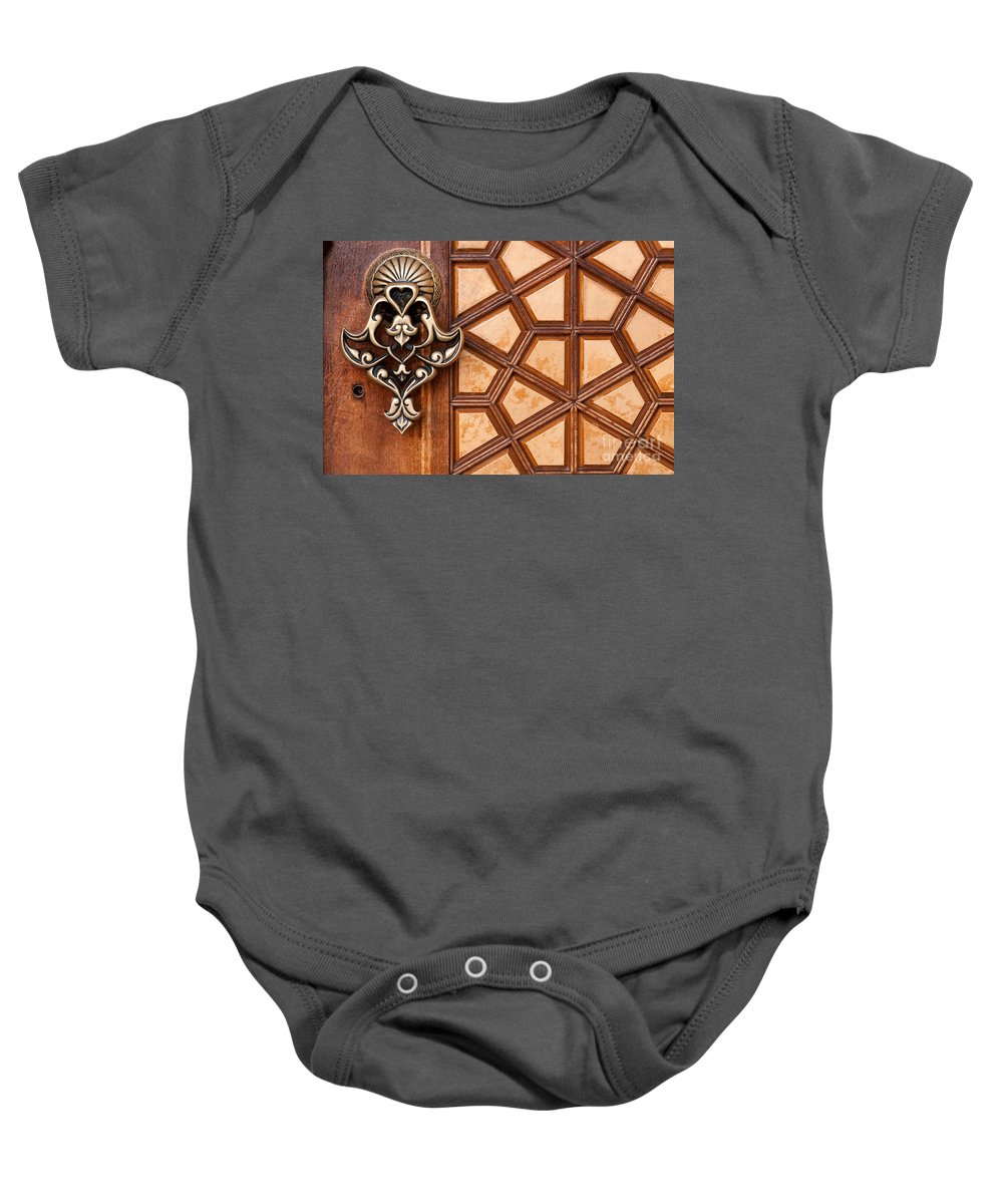 Istanbul Baby Onesie featuring the photograph Firuz Aga Mosque Door 03 by Rick Piper Photography
