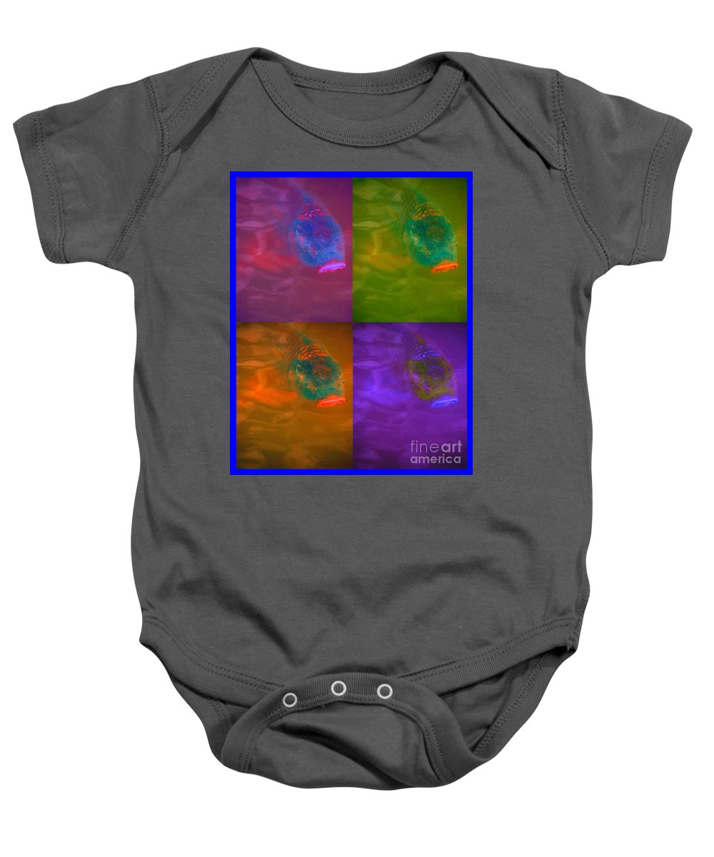 First Star Art Baby Onesie featuring the mixed media Fish Lips by First Star Art