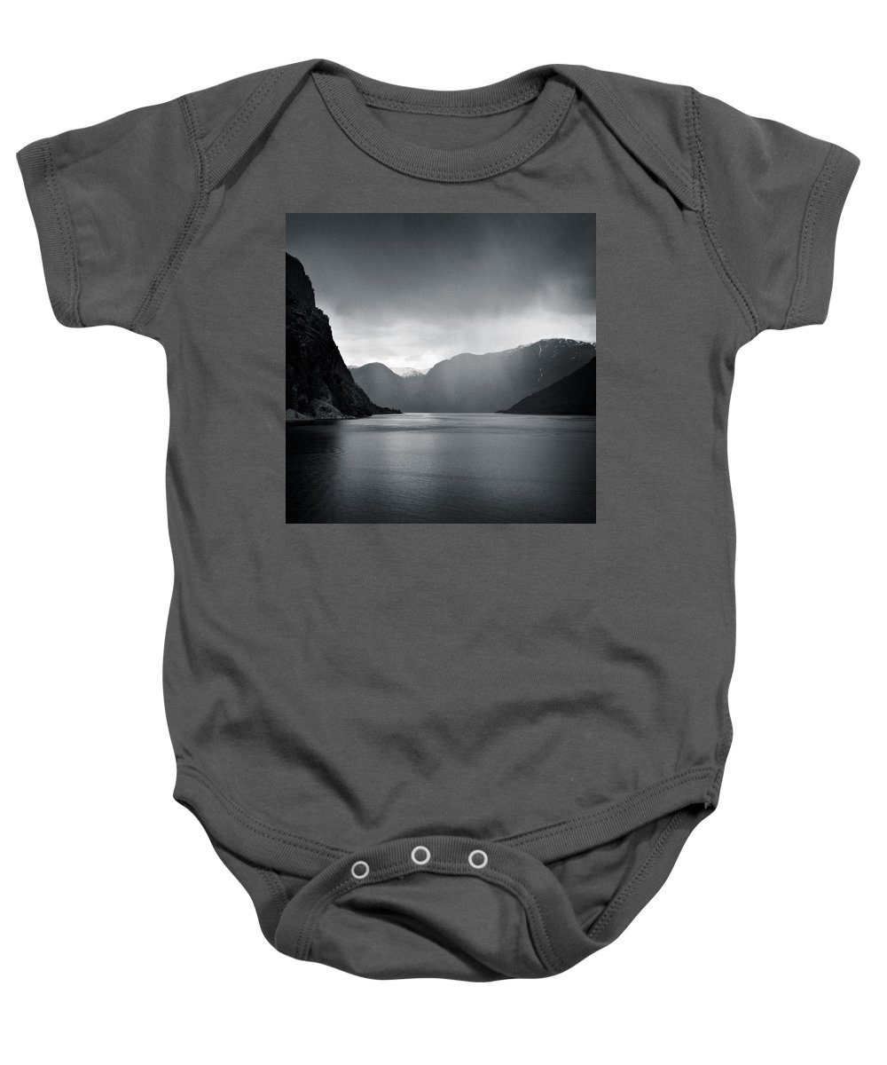 Norway Baby Onesie featuring the photograph Fjord Rain by Dave Bowman