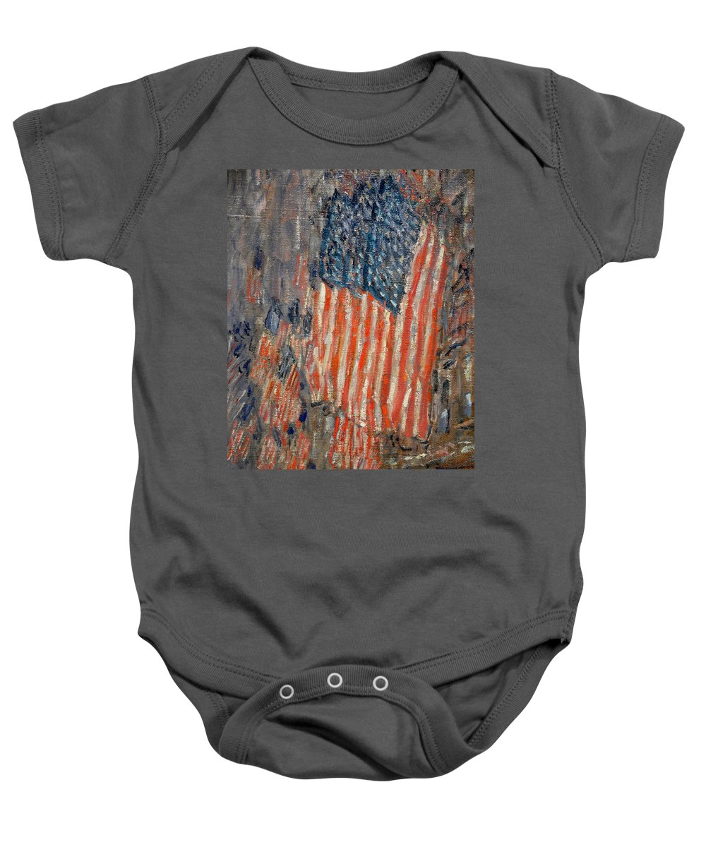 Flags On The Waldorf Baby Onesie featuring the painting Flags On The Waldorf by Georgia Fowler