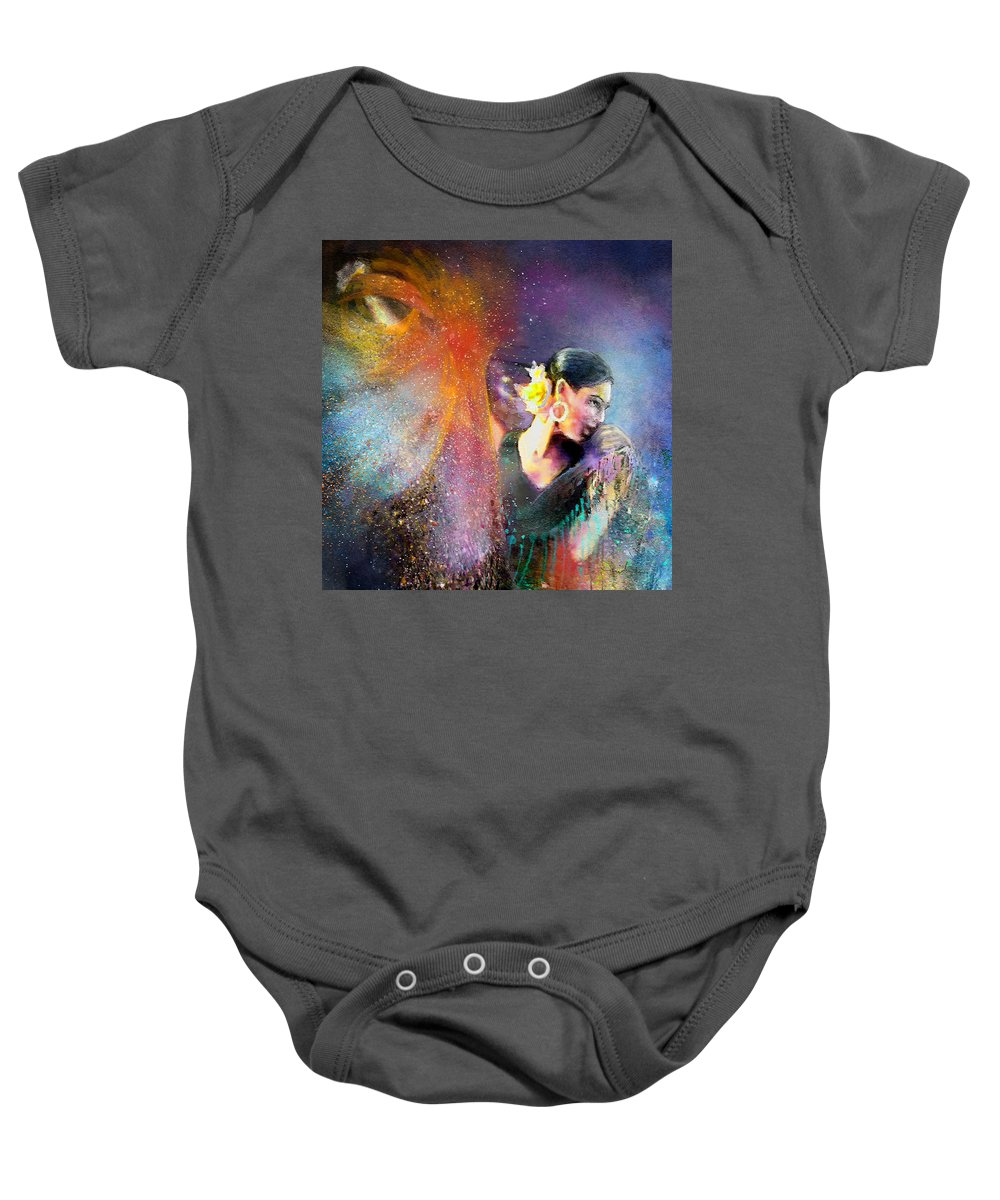 Flamenco Baby Onesie featuring the painting Flamencoscape 04 by Miki De Goodaboom