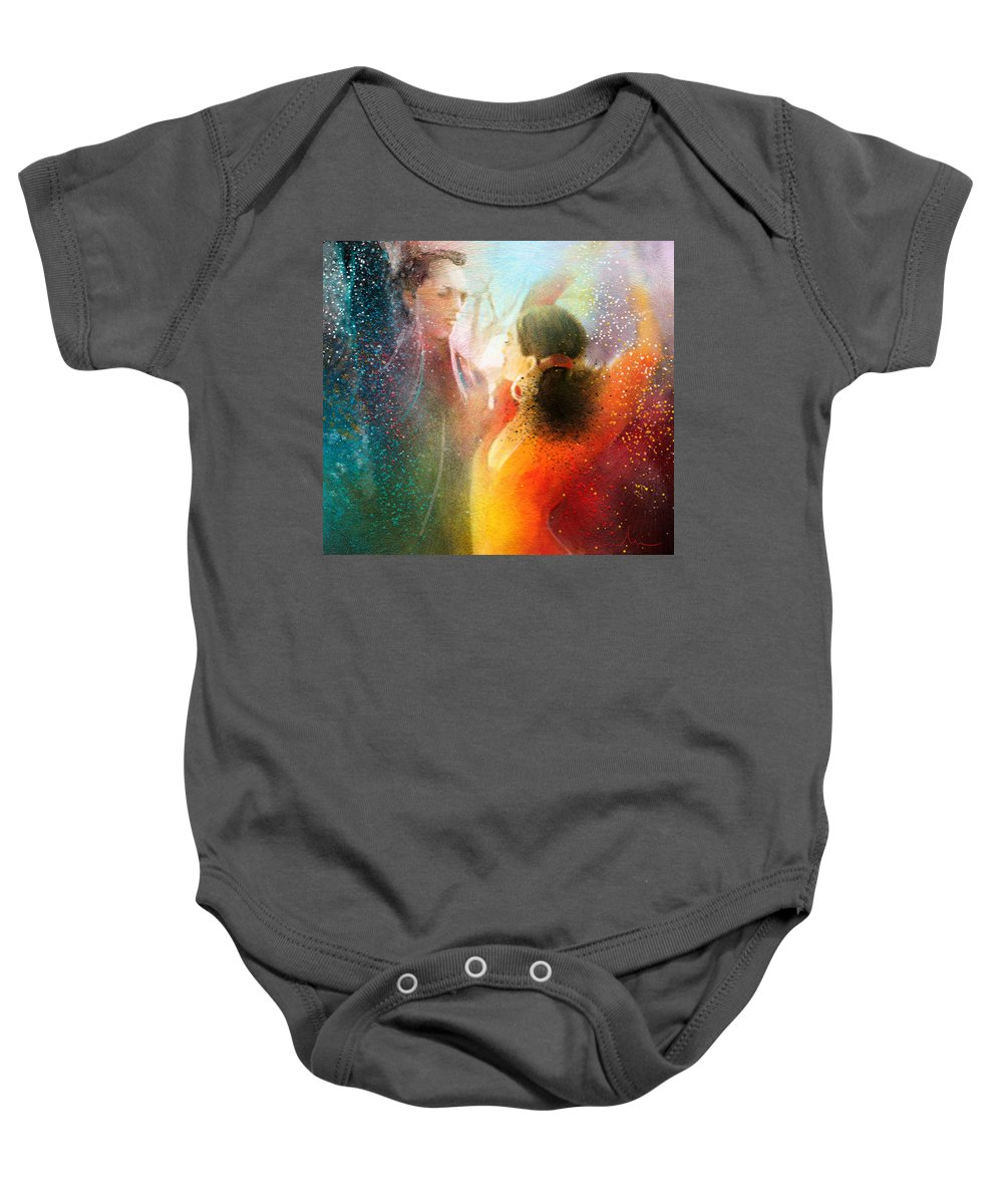 Flamenco Painting Baby Onesie featuring the painting Flamencoscape 09 by Miki De Goodaboom