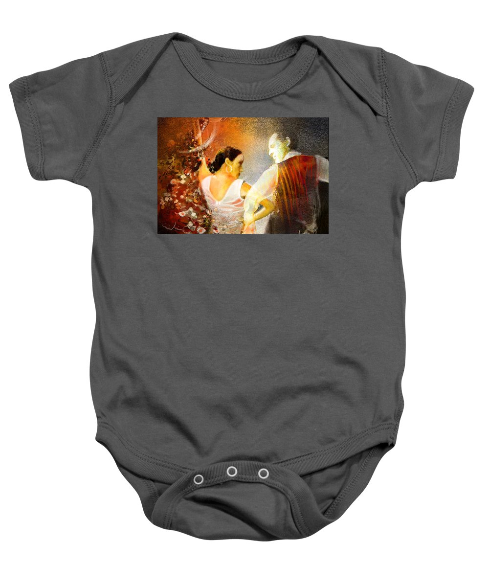 Flamenco Painting Baby Onesie featuring the painting Flamencoscape 10 by Miki De Goodaboom