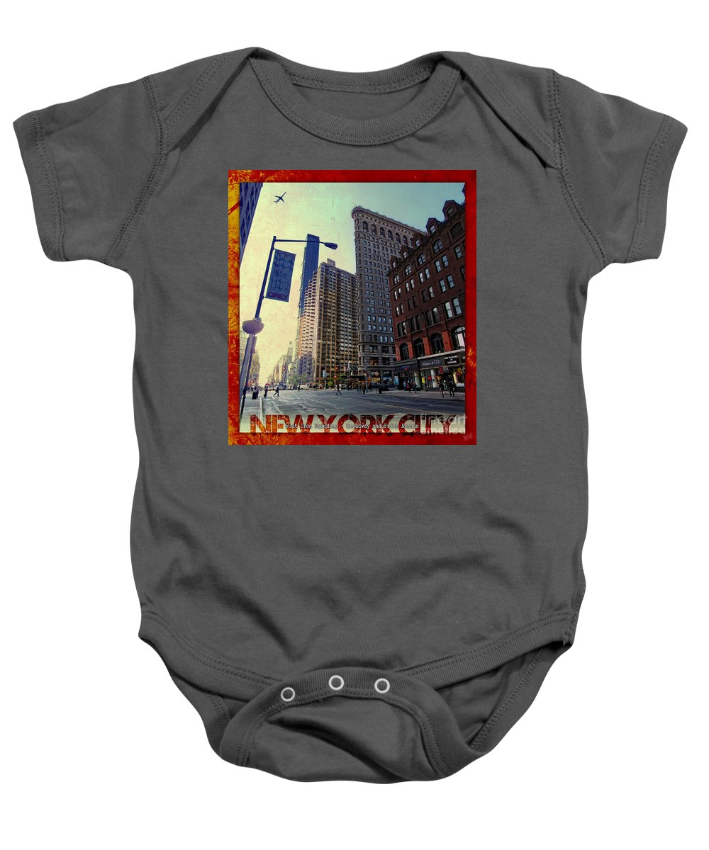 Flat Iron Building Baby Onesie featuring the photograph Flat Iron Building Poster by Nishanth Gopinathan
