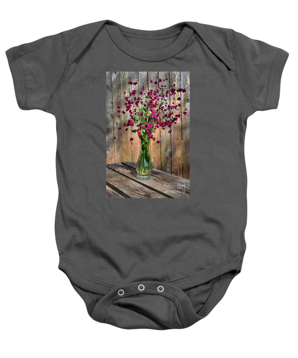 Vase Baby Onesie featuring the photograph Flora Vase In Hdr by Gary Richards