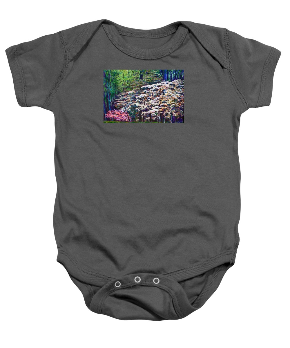 Landscape Baby Onesie featuring the painting Floral Cathedral by Michael Durst
