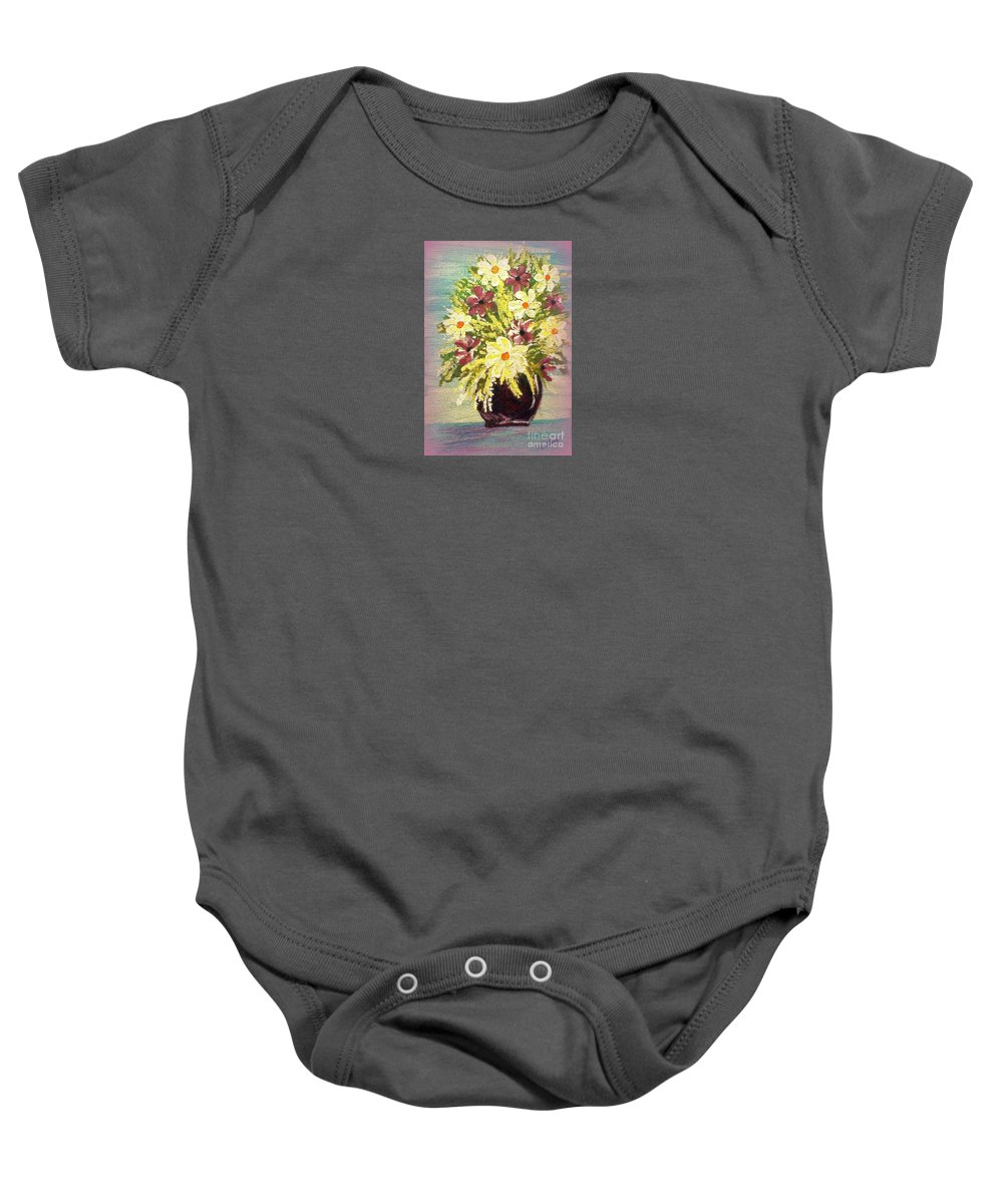 Painting Baby Onesie featuring the painting Floral Delight Acrylic Painting by Bobbee Rickard