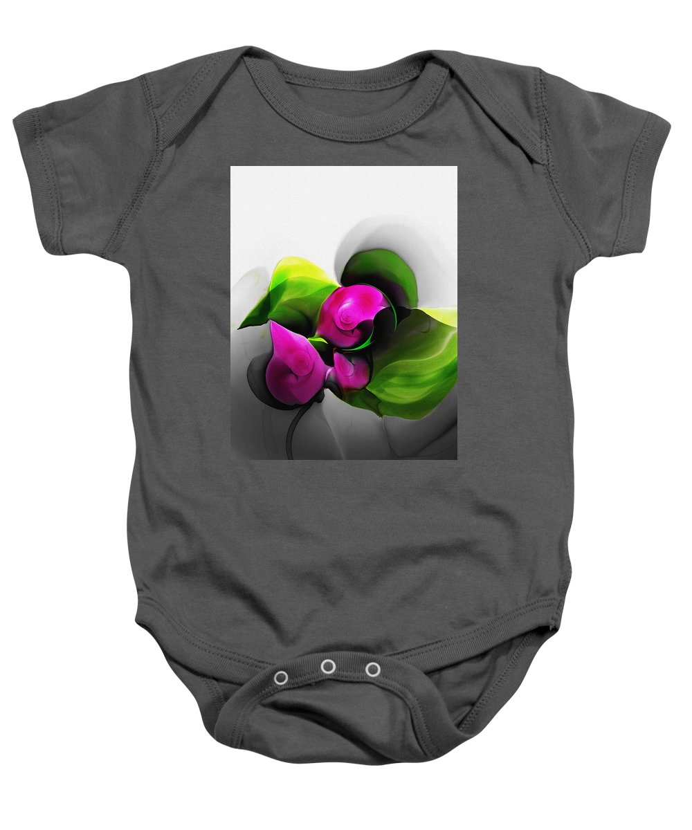 Fine Art Baby Onesie featuring the digital art Floral Expression 111213 by David Lane