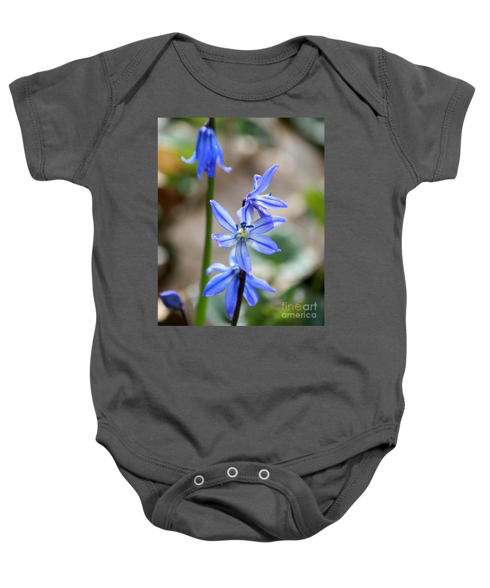 Blue Flower Baby Onesie featuring the photograph Floral Ladder by Neal Eslinger