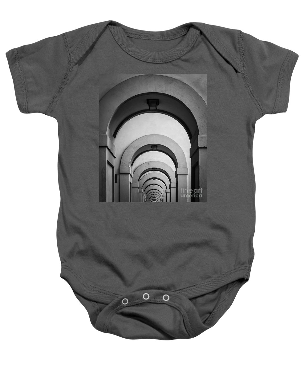 B&w Baby Onesie featuring the photograph Florence Hallway by Inge Johnsson